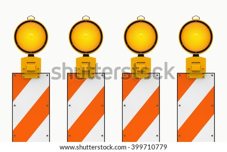 Yellow traffic warning lamps background isolated on white. clipping path. 3d rendering - stock photo