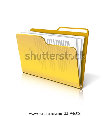 Yellow transparent folder with papers. Document icon.  - stock photo