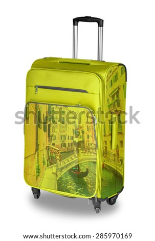 Yellow Travel bug with the image of Venice. isolated on white background - stock photo
