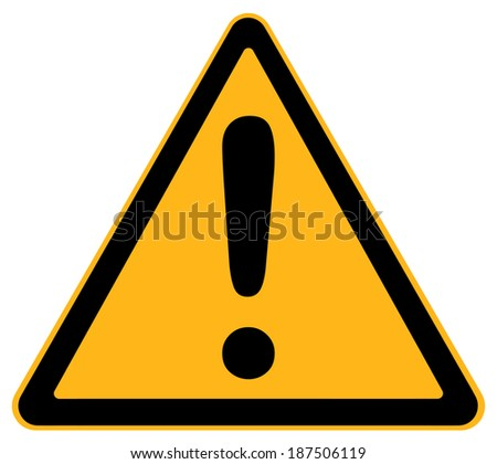 Yellow Triangle Warning Sign With Exclamation Sign Isolated on White Background.