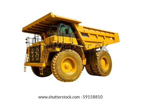 yellow truck on the white background - stock photo
