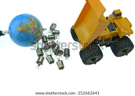 Yellow Truck toy with light bulbs and earth