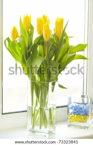 Yellow tulips bouquet - stock photo