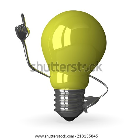 Yellow tungsten light bulb character in moment of insight, 3d render isolated on white - stock photo