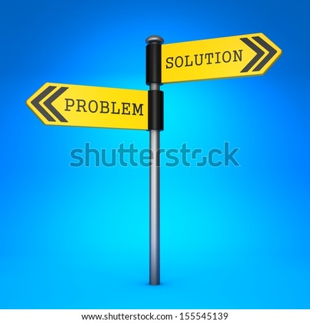 Yellow Two-Way Direction Sign with the Words Problem and Solution on Blue Background. Concept of Choice. - stock photo