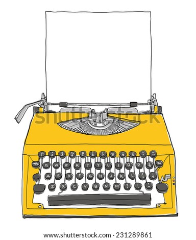 yellow Typewriter vintage with paper painting - stock photo