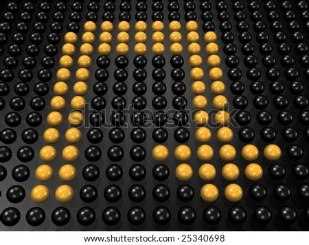 yellow u turn sign formed by group of sphere 3d rendered - stock photo