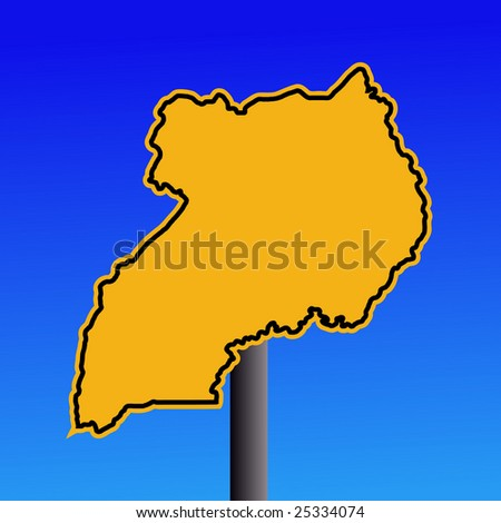 yellow Uganda map warning sign on blue illustration JPEG