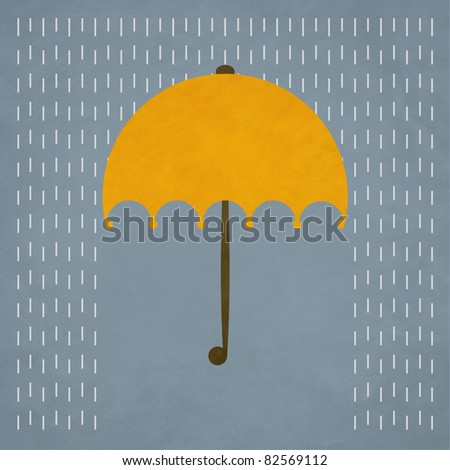 yellow umbrella and rain - stock photo