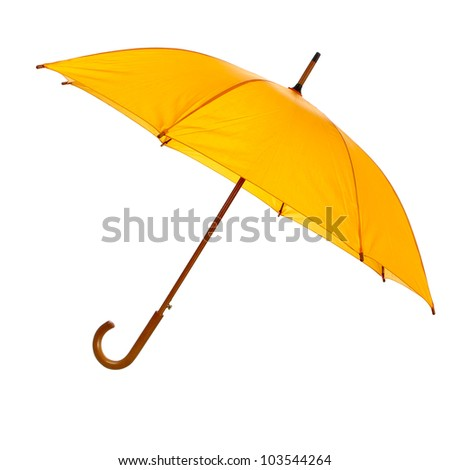 Yellow umbrella isolated against white background