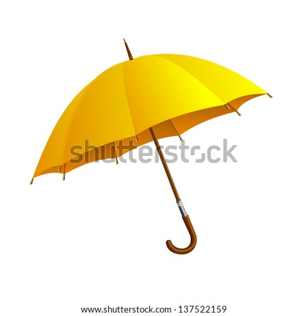 Yellow umbrella isolated on white