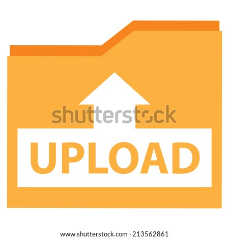 Yellow Upload Document Icon, Sign or Button Isolated on White Background  - stock photo