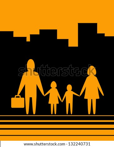 yellow urban background with happy large family - stock photo