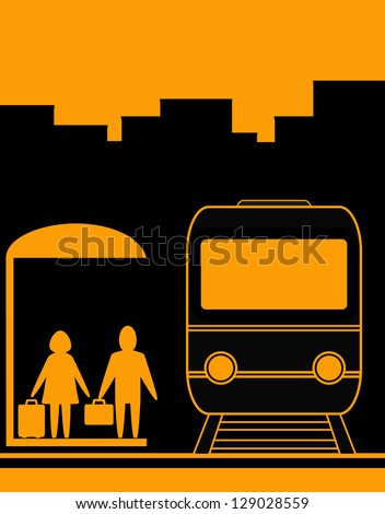 yellow urban background with man and woman waiting travel