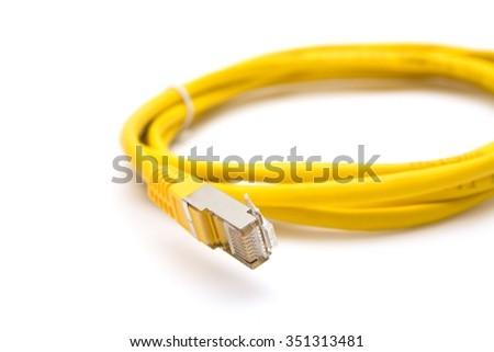 Yellow UTP/FTP cable with rj45 connectors - stock photo