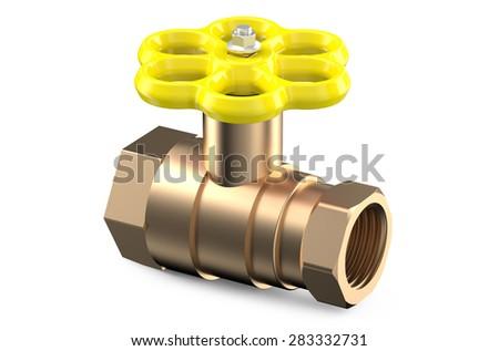 yellow valve isolated on white background - stock photo