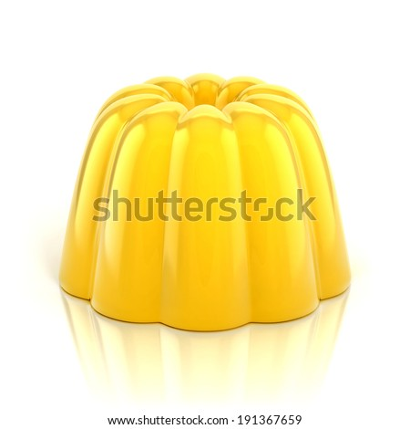 yellow vanilla pudding 3d illustration isolated on white - stock photo