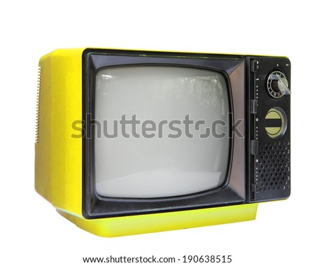 Yellow vintage analog television isolated over white background, clipping path. - stock photo
