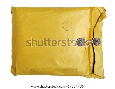 Yellow vintage envelope isolated on white - stock photo