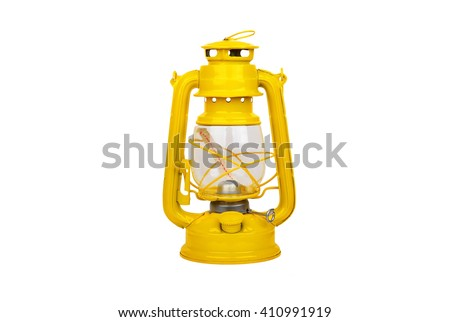 Yellow vintage kerosene lantern, isolated on white background