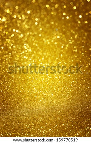 yellow vintage paper over bokeh glitter lights background - stock photo