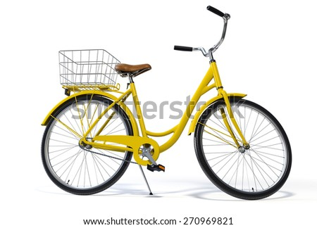 Yellow Vintage Style Bike on White - stock photo