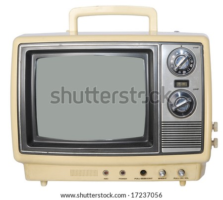 Yellow Vintage TV set - stock photo