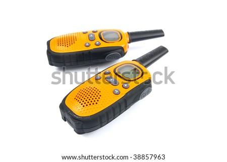 Yellow walkie talkies - stock photo