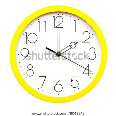 yellow wall clock on white - stock photo