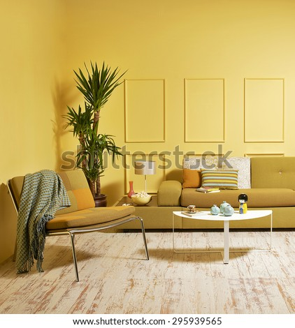 yellow wall modern interior style - stock photo