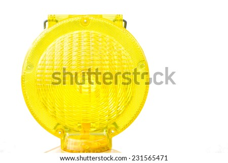 Yellow Warning Light at Construction Site