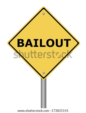 Yellow warning sign on white background with the text bailout - stock photo