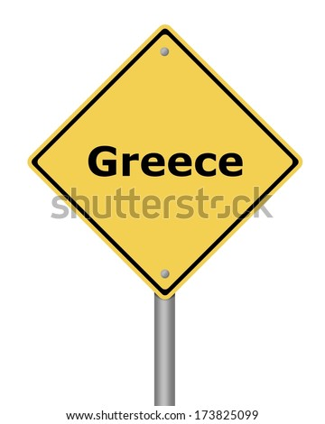 Yellow warning sign on white background with the text Greece - stock photo