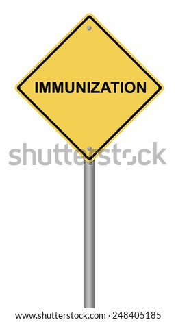 Yellow warning sign with the text Immunization. - stock photo
