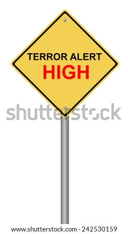 Yellow warning sign with the text Terror Alert High. - stock photo