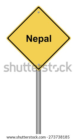 Yellow warning sign with the writing Nepal on whiate background. - stock photo