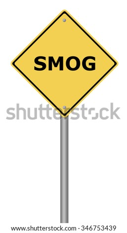 Yellow warning sign with the writing SMOG on white background.