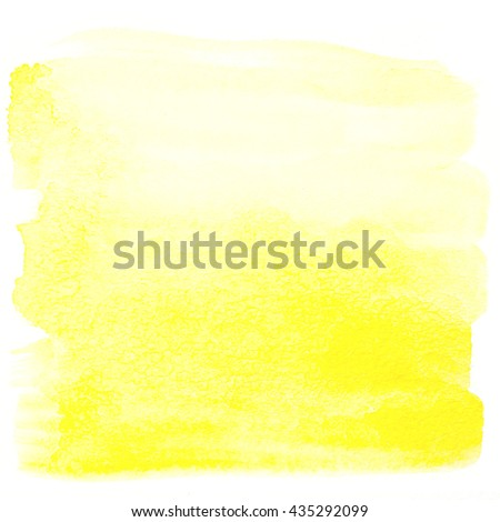 Yellow watercolor background. Square watercolor banner isolated on white with paper texture - stock photo