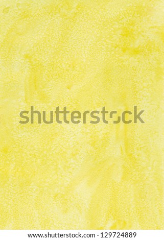 Yellow watercolor background with pattern - stock photo