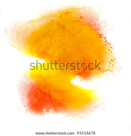 yellow watercolor splash stain orange macro color spot blotch watercolour texture isolated on a white background - stock photo