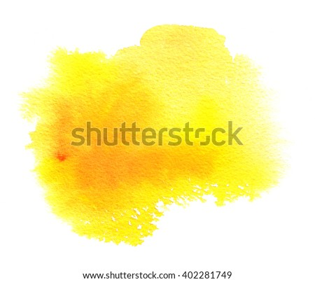 Yellow watercolor stain with watercolor paint blotch and brush stroke