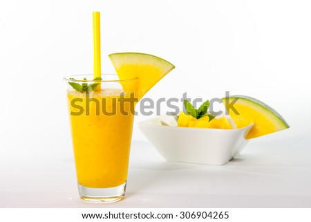 yellow watermelon smoothie - stock photo