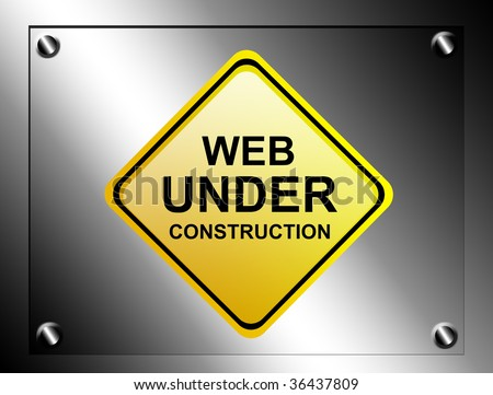 Yellow web under construction signal. Over chrome background - stock photo