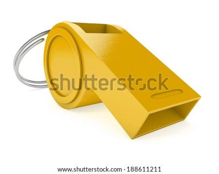 yellow whistle isolated on white background. 3d illustration - stock photo