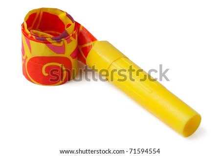 Yellow whistle to make noise on carnival parties on isolated background - stock photo