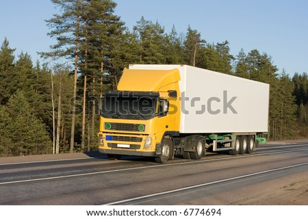 "yellow white blank delivery van truck of ""Trucks"" series in my portfolio - stock photo"