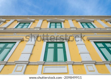 yellow windows wall for background. - stock photo