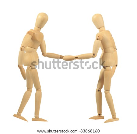 Yellow wooden dummy in shake hand action isolated on white background - stock photo