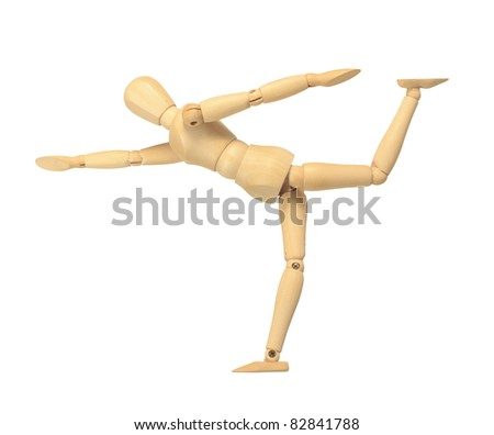 Yellow wooden dummy in yoga action isolated on white background - stock photo