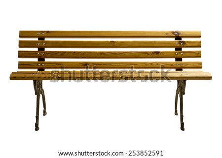 Yellow Wooden Park Bench Isolated on White Background. Front View of a Classic Park Bench made of wood and iron. - stock photo